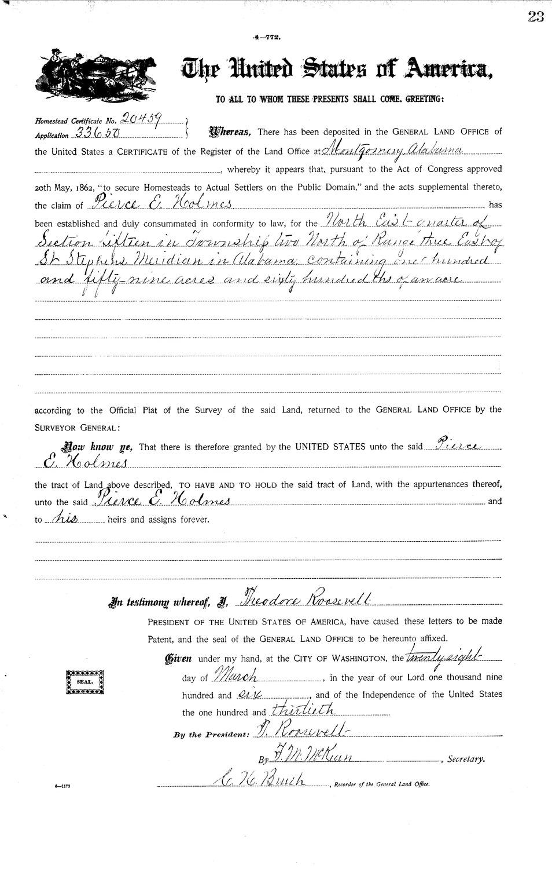 Pierce E Holmes, State Land Patent in Baldwin County