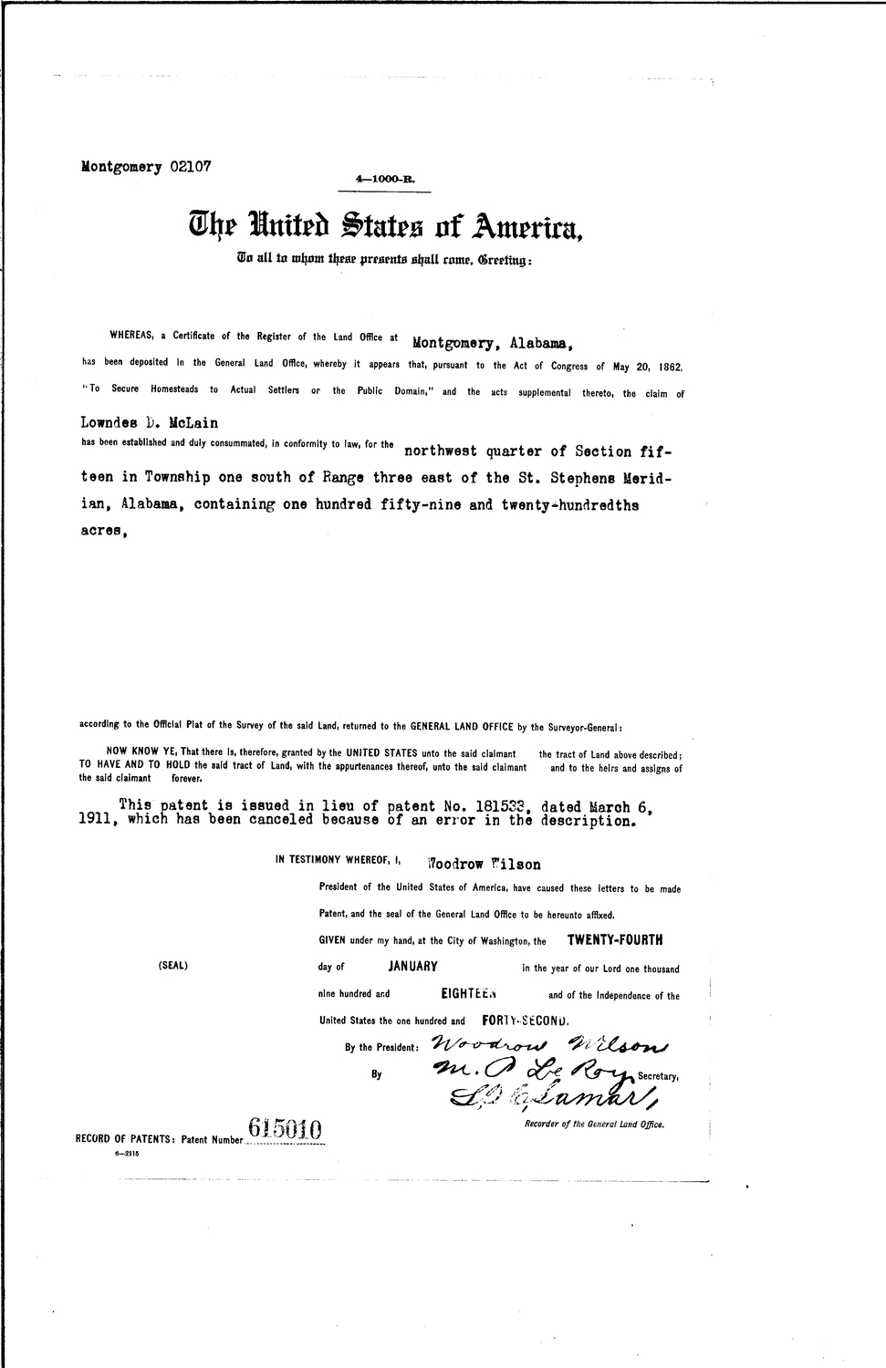 Lowndes D Mclain, Serial Land Patent in Baldwin County