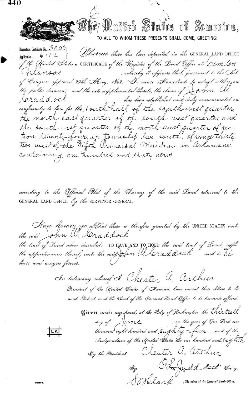John W Craddock, State Land Patent in Polk County, Arkansas (1884