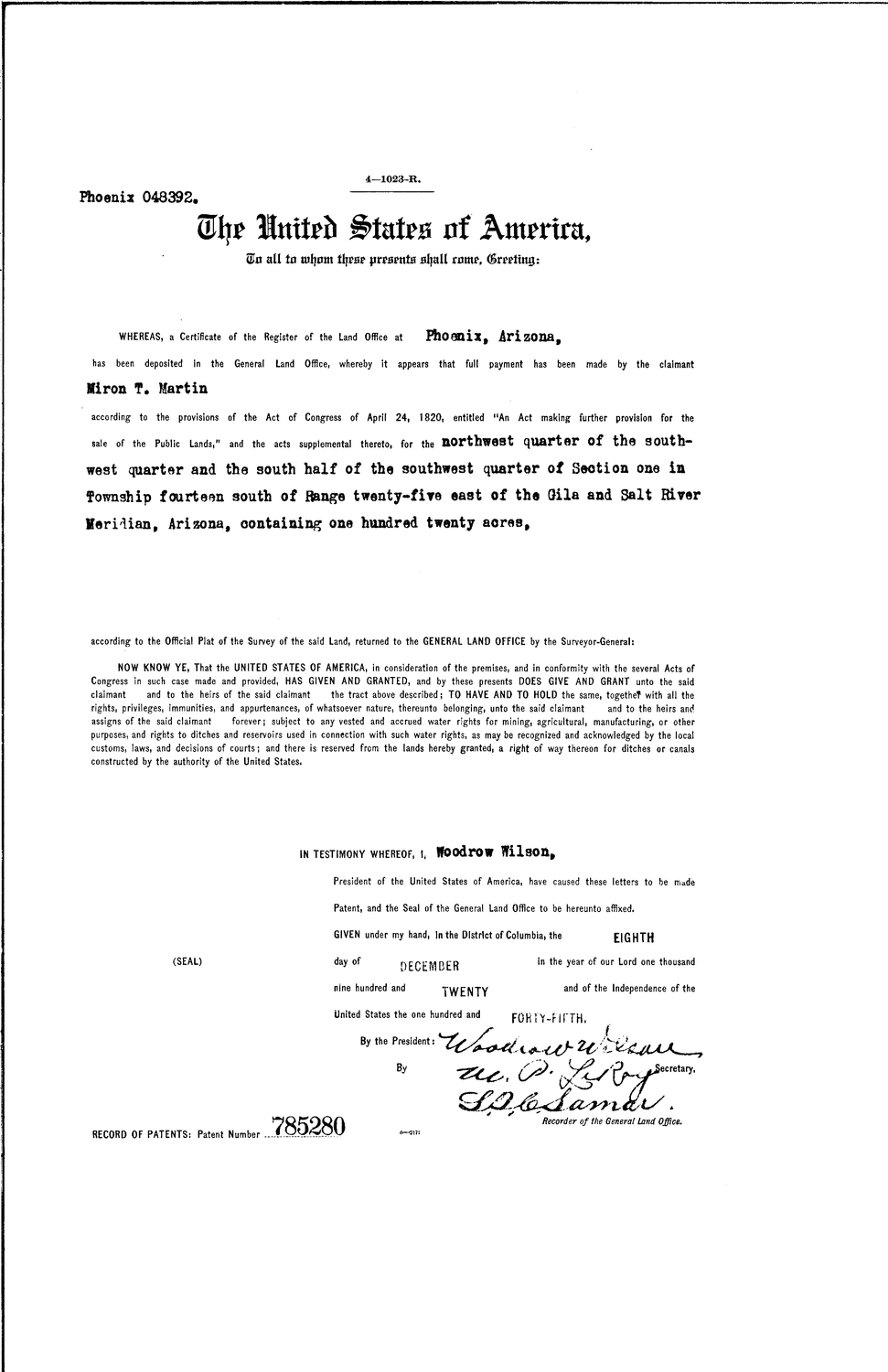Myron T Martin, Serial Land Patent in Cochise County