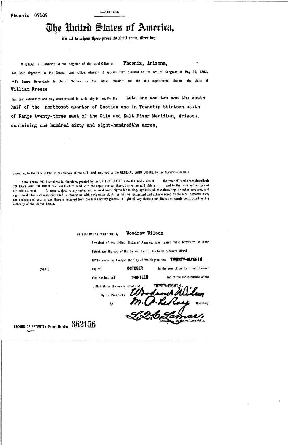 William Freeze, Serial Land Patent in Cochise County