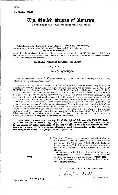 New mexico bernalillo county - Bette M Graffunder Serial Land Patent In Bernalillo County New Mexico