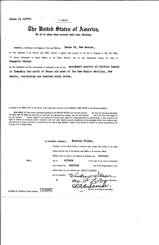 New mexico bernalillo county - Gregorio Garcia Serial Land Patent In Bernalillo County New Mexico