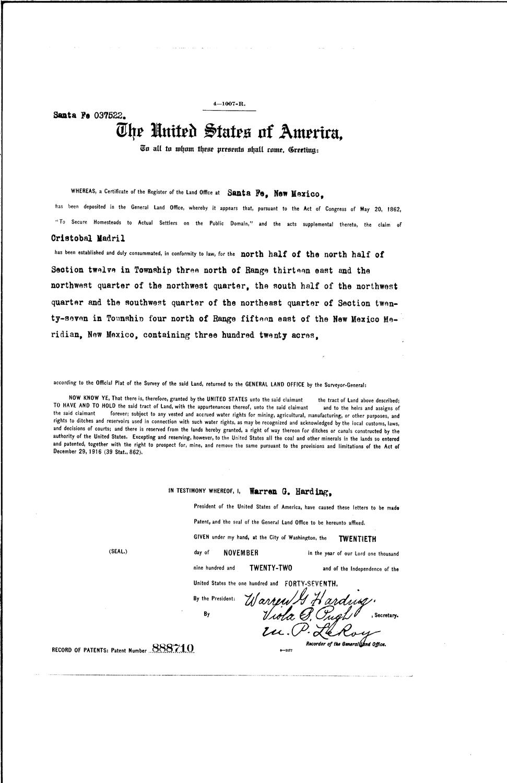 Cristobal madril serial land patent in torrance county new cristobal madril serial land patent in torrance county new mexico sciox Gallery