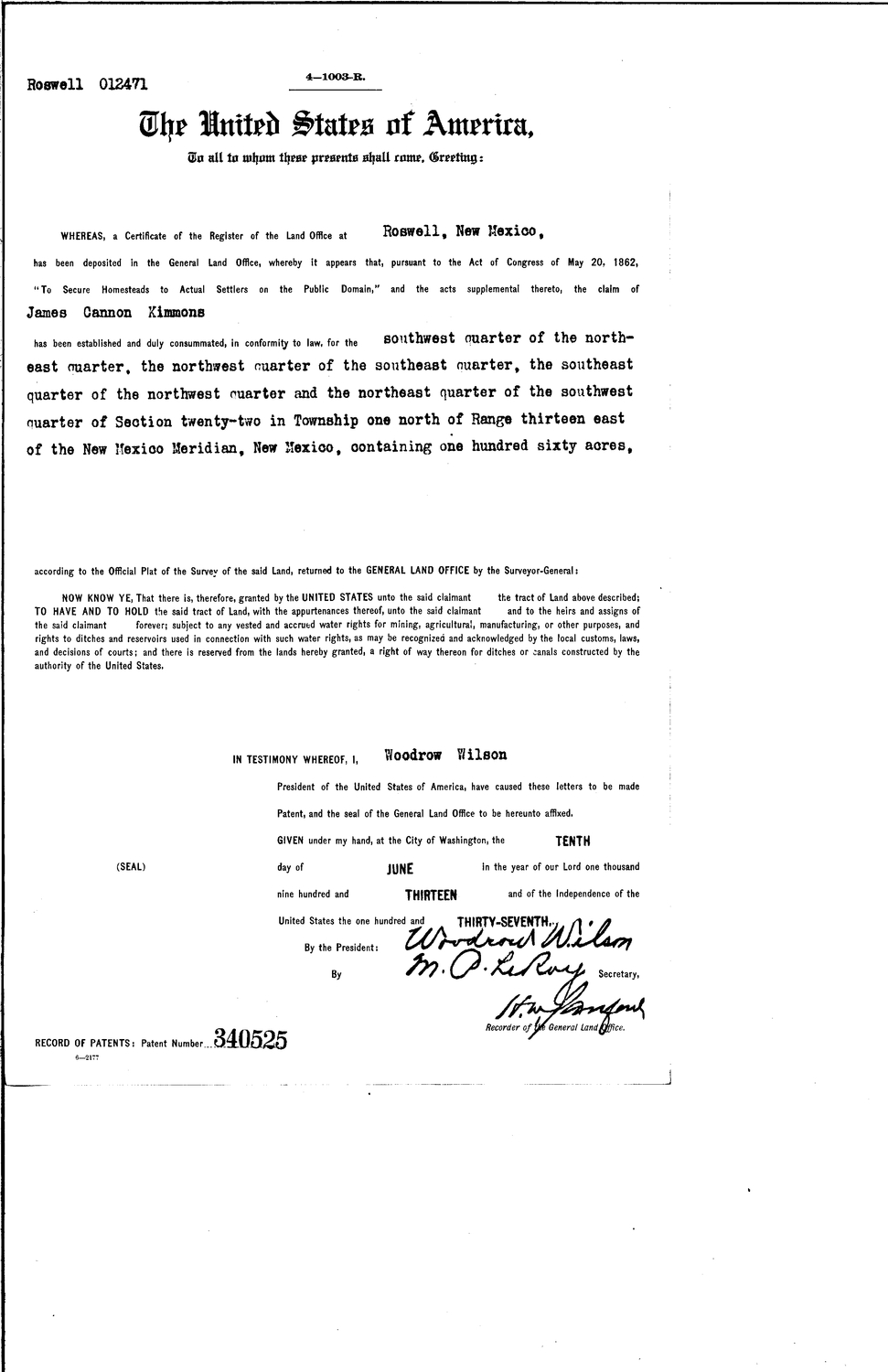James cannon kimmons serial land patent in torrance county new james cannon kimmons serial land patent in torrance county new mexico sciox Gallery