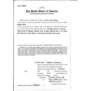 Michael hofer serial land patent in corson county south for Michael hofer