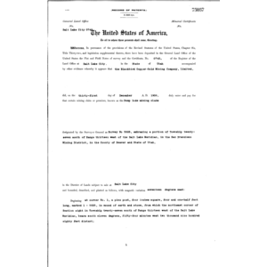Click this thumbnail for a full view of Mineral Patent Lode